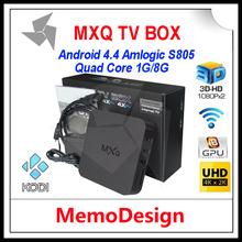 10 pz/lotto mxq amlogic s805 android 4.4 smart tv box quad core 1 gb/8 gb cortex a5 1.5 ghz + mali-android 4.4 wifi media player(China (Mainland))