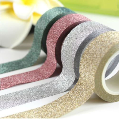 2 PCS Hot Sale Glitter Tape Card Scrapbooking Book Decor Self Adhesive Sticky Beautiful 5M 8 Colors(China (Mainland))
