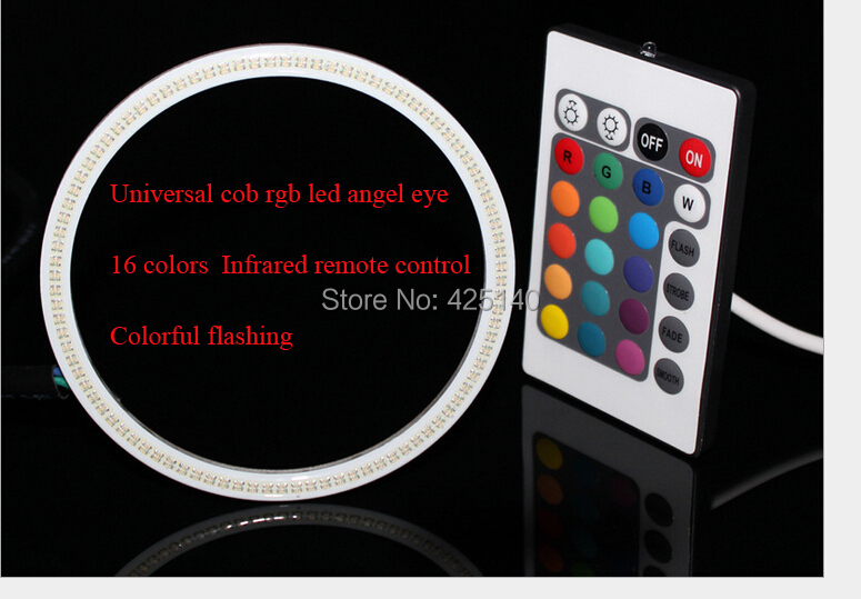 New arrival B.M D80mm cob RGB angel eyes with reflectors Modified lamp16 infrared remote control strobe flashing colorful ribbon(China (Mainland))