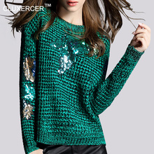 CLUXERCER Brand sweater Women pullover o-neck sequins sleeve stitching colorful female sweaters pullovers(China (Mainland))