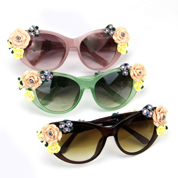 Fashion Oversized Women's Girls Sunglasses Retro Decor Floral Flower UV Glasses (China (Mainland))