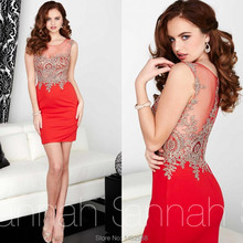 New Elegant Lace Appliques Cap Sleeves Red Cocktail Dresses 2015 Short Mini Party Gowns Girl Homecoming Dress(China (Mainland))