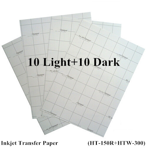 Free A4 Paper 20pcs=10 Light +10 Dark Inkjet Heat Transfer Paper Thermal papel transfer Printing Paper for t shirt fabric(China (Mainland))