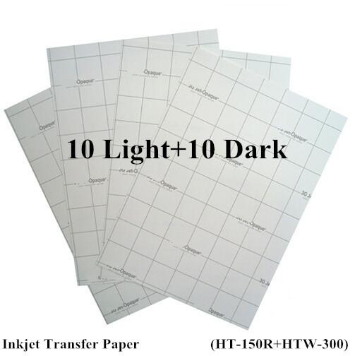 Free A4 Paper 20pcs=10 Light +10 Dark Inkjet Heat Transfer Paper Thermal papel transfer Printing Paper for t shirt fabric(China (Mainland))