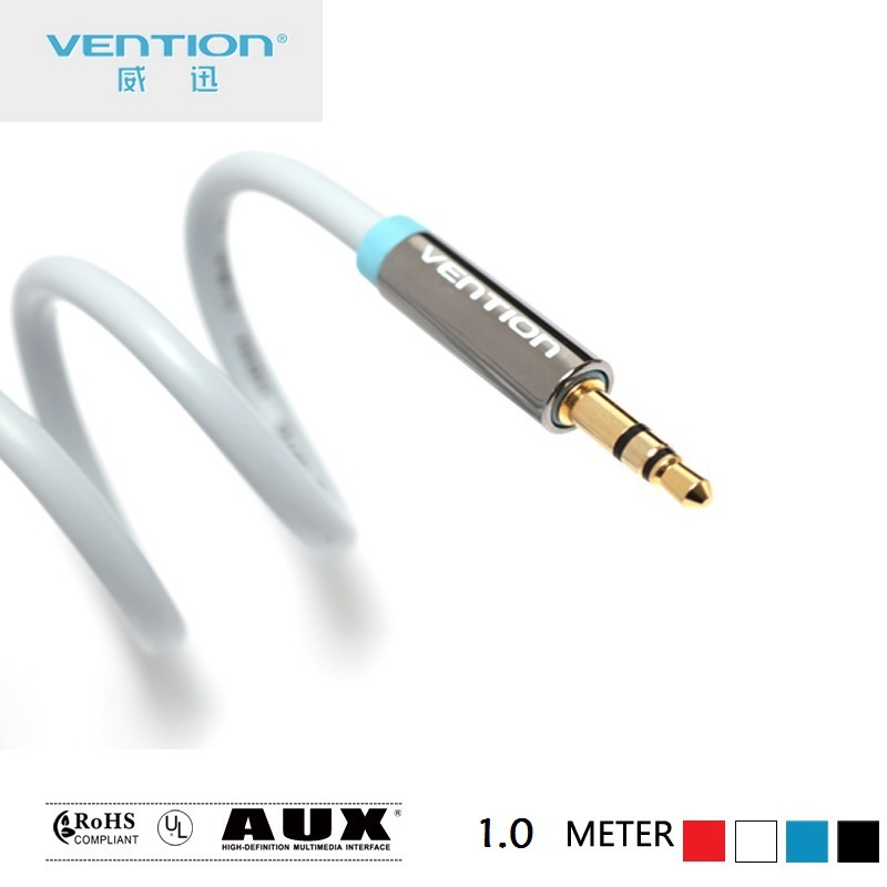 Vention 3.5mm male-male Car AUX Cable 1.0 meter Gold Plated Stereo Audio Cable For Car PC Tablet MP3 Cell phone P350AC100(China (Mainland))