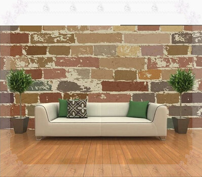 Custom any size 3D wall mural wallpapers television background wall mural Club Hotel Lobby murals retro brick wall murals green(China (Mainland))