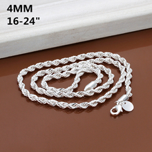 4MM width, 16inch-24inch Silver Rope Chains Necklace, silver fashion jewelry, high quality, free shipping(China (Mainland))