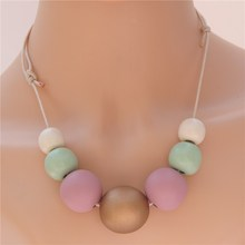 1pc Pink Green Wooden Necklace Nature Wood Ball Wrap Rope Chain Bohemian Style E920(China (Mainland))