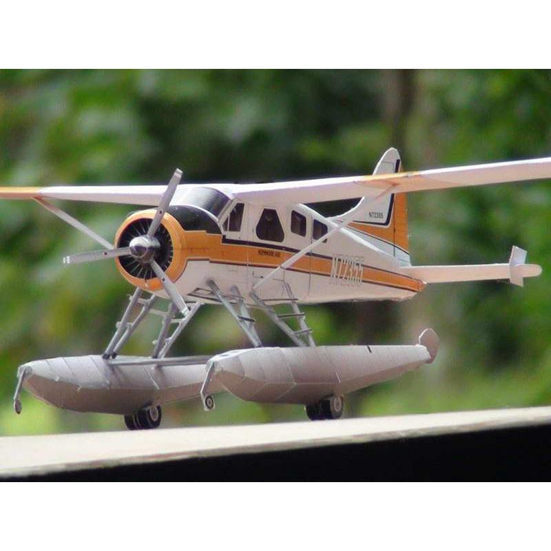 New 1//32 DHC-2 Beaver Float Seaplane DIY 3D Paper Model Educational Puzzle Kit