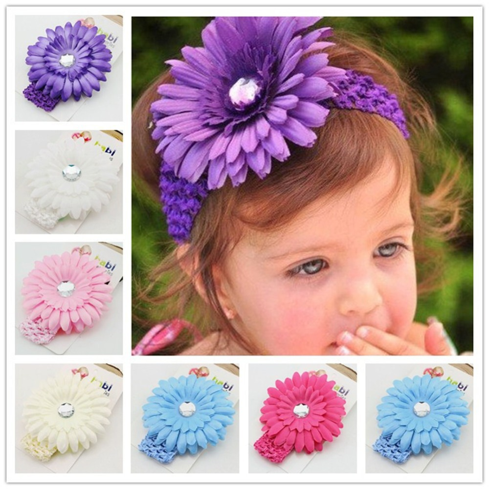 2015 Brand 10PCS/Lot Baby Girls' Infant Elastic Satin Flower Cute Hairband Baby Hair Band Accessories(China (Mainland))