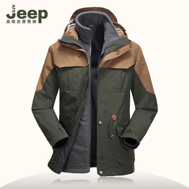 2 шт. комплект осень зима мужчины дышащий теплый флис китель открытый пальто водонепроницаемый ...