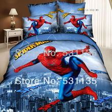red spiderman blue city 3D bedding sets 4pcs cotton bedlinens bedsheets bed duvet quilt covers queen size cartoons bedclothes(China (Mainland))