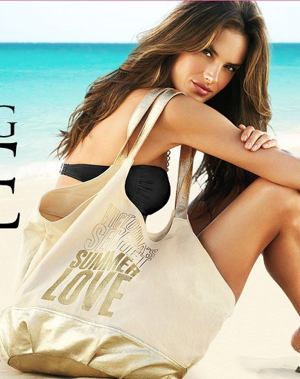 Fashion Women's Letter Summer Love VS Limited Edition Bag Bronzing Canvas Beach Shoulder Bags Leisure Handbags Shopping Bags(China (Mainland))