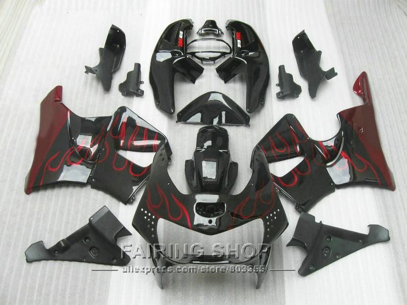 Cheap Fairing kit For honda CBR900 RR 919 1999 1998 ( red flames Fairings ) cbr 900rr 98 99 CN25