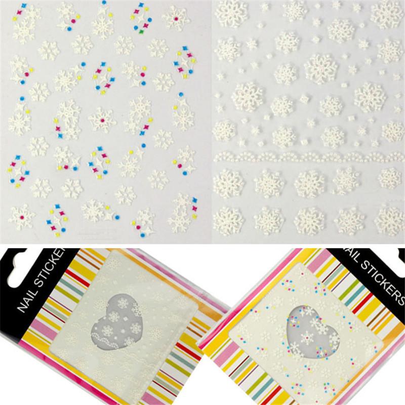 Women Beauty Snow flakes Design 3D Nail Art Stickers Decals Girl Fingernail Accessories(China (Mainland))