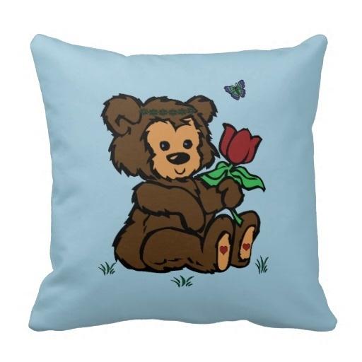 Another Hippie Bear Headband Flower Butterfly Pillow Case (Size: 20