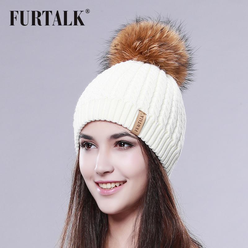 2016 Furtalk Real Fur Hat Double Lining Real Big Raccoon Pom Pom Hat Women Winter Hat(China (Mainland))