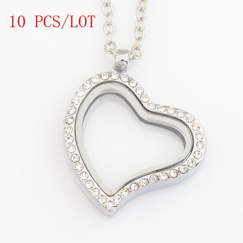 10 PCS/LOT 30mm heart magnetic floating locket charms with rhinestone, with free 50-55cm chain FN0006(China (Mainland))