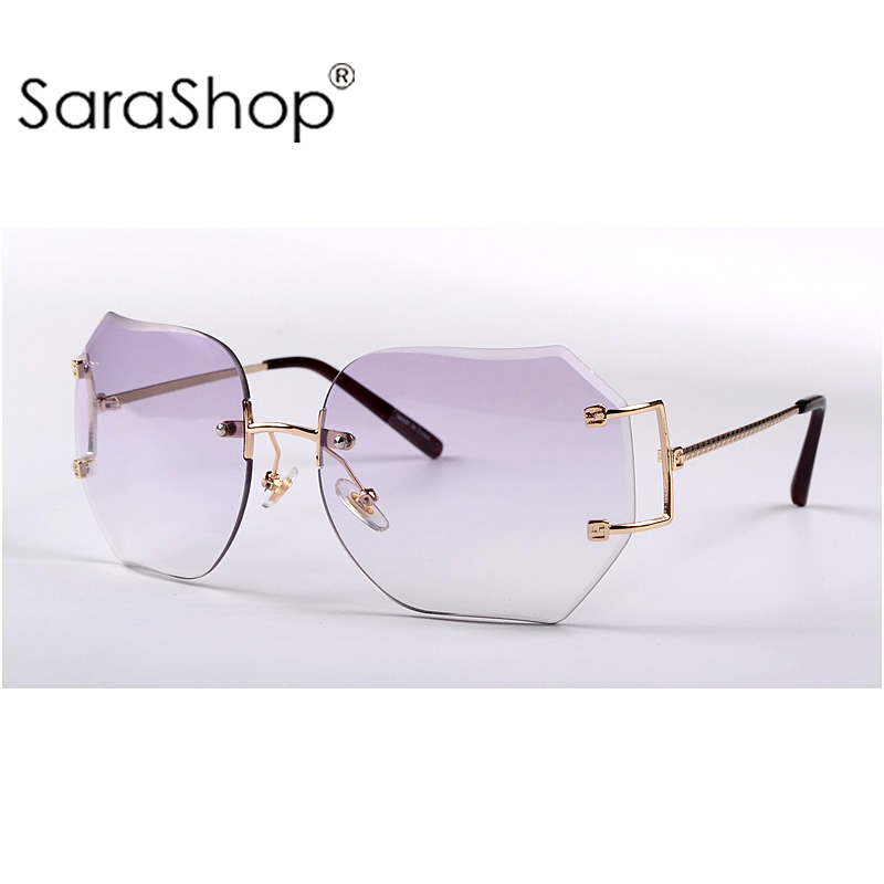SARA Quality the gradient Cutting rimless sunglasses woman sun glasses Unique frames A530(China (Mainland))