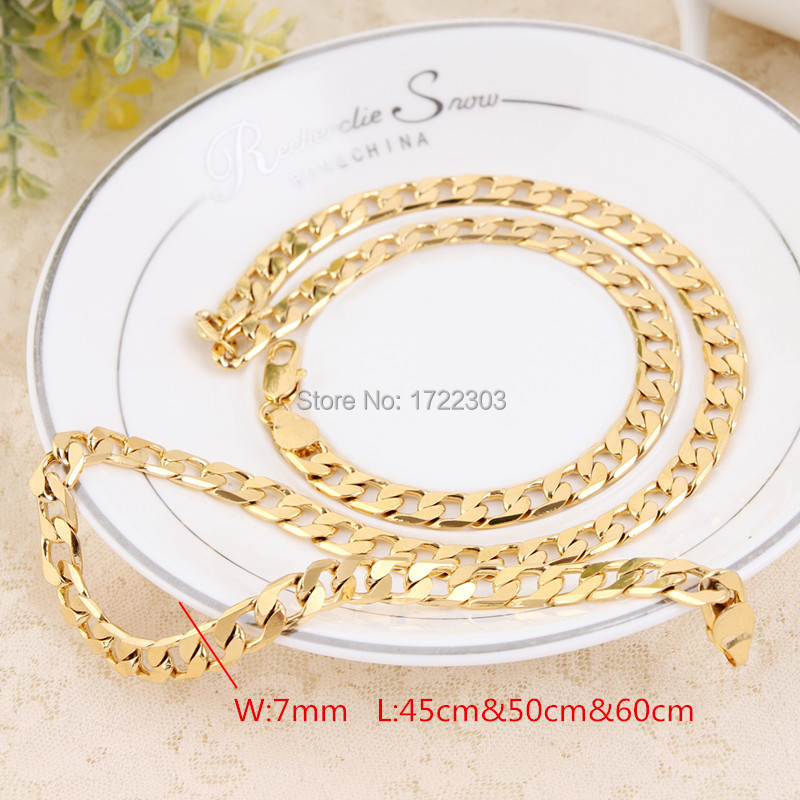 Fashion jewelry Necklace 7mm Chain Men Curb Chain 18K Gold Filled Necklace Gold Necklace 18K Gold Necklace<br><br>Aliexpress