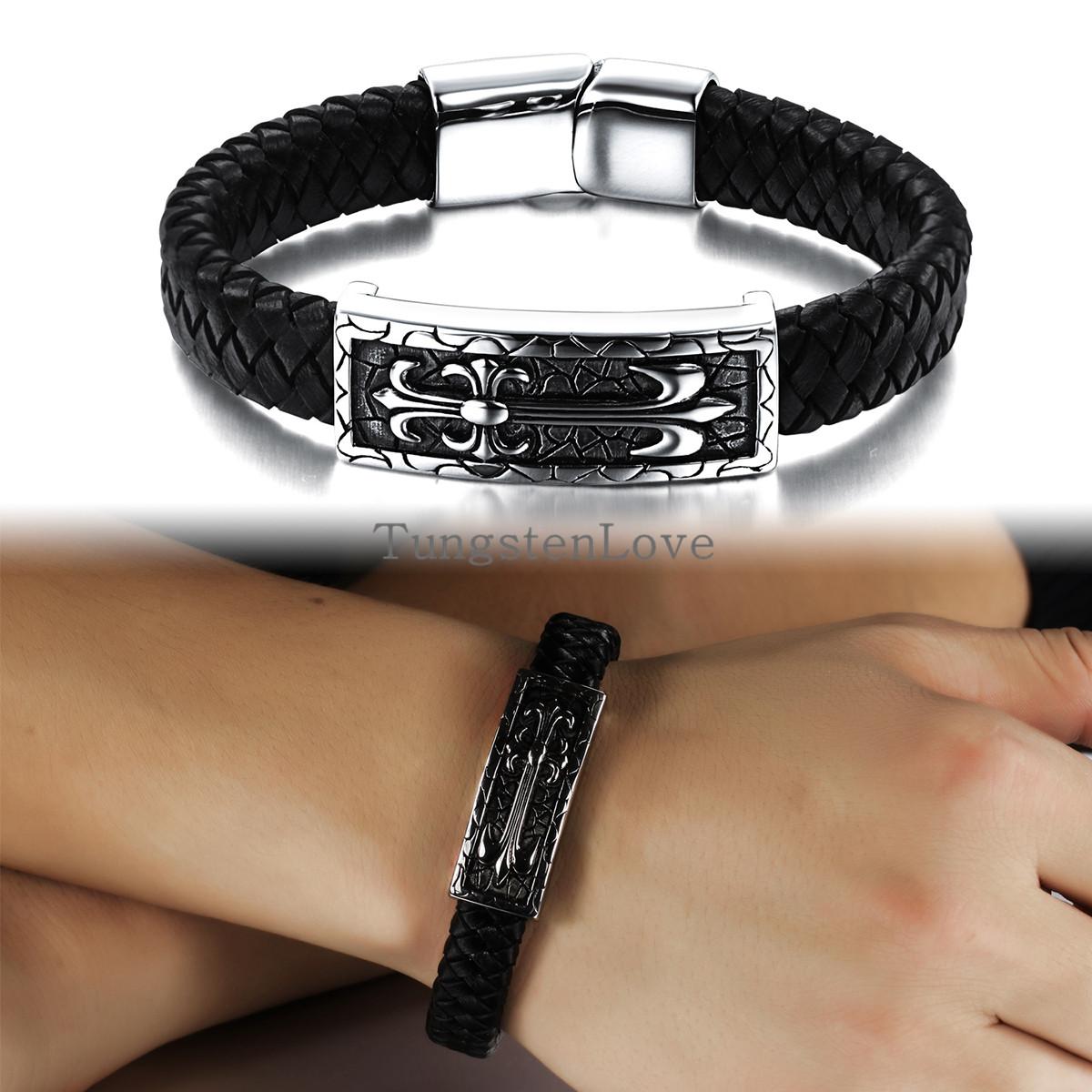 22.5cm Men Jewelry Vintage Style French fleur de lis Leather Rope Bracelet For Men Fashion Wristband masculina pulseira de couro(China (Mainland))