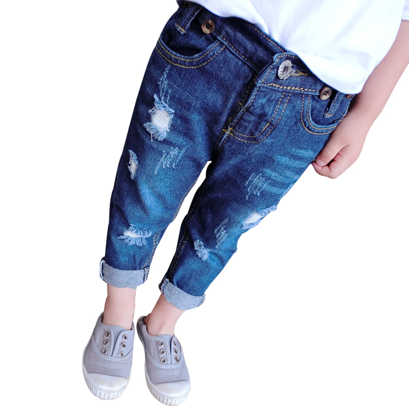 Children Broken Hole Pants Trousers Boys Girls Jeans Autumn Trousers <br><br>Aliexpress
