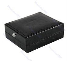 1PC New Black Leather Cufflinks Box Gift Storage Case Cuff Box Jewelry Carrying Case(China (Mainland))