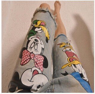 2014 New Summer plus size Mickey Mouse brand desigual ripped Jeans pants for women with Hole for ladies Girls(China (Mainland))
