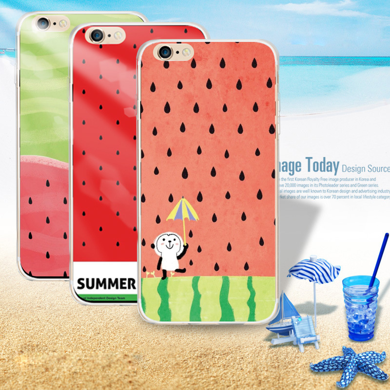 Newest Summer Style Watermelon Image cell phone cases for iphone 5 5S 5G 6 6Plus Ultra thin soft TPU phone back covers(China (Mainland))