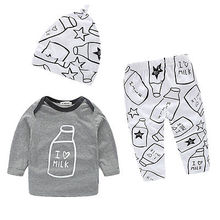 2016 3pcs Kids Infant Baby Boy Girl Clothes Milk Bottle I Love Milk Printed Long Sleeve Tops T-shirt+Pants+Hat Sets(China (Mainland))