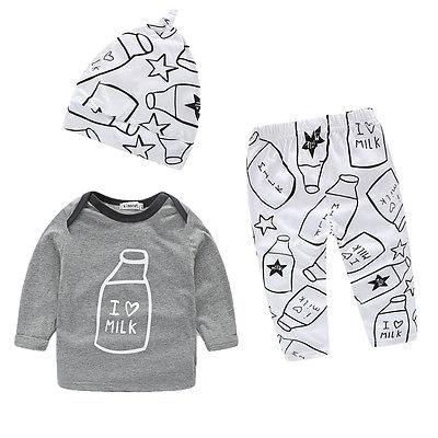 2016 3pcs Kids Infant Baby Boy Girl Clothes Milk Bottle I Love Milk Printed Long Sleeve Tops T-shirt+Pants+Hat Sets(China (Mainland))