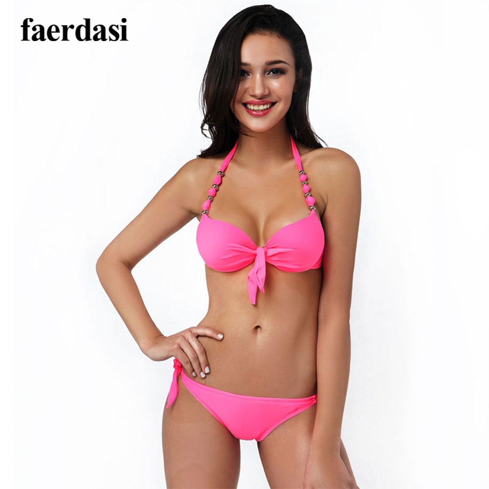Fashion Low Waist Bikini Women Push Up Padded Biquini Adjustable Bottom Swimwear Halter Neck Brazilian Bikini 4 Colors Swimsuit(China (Mainland))