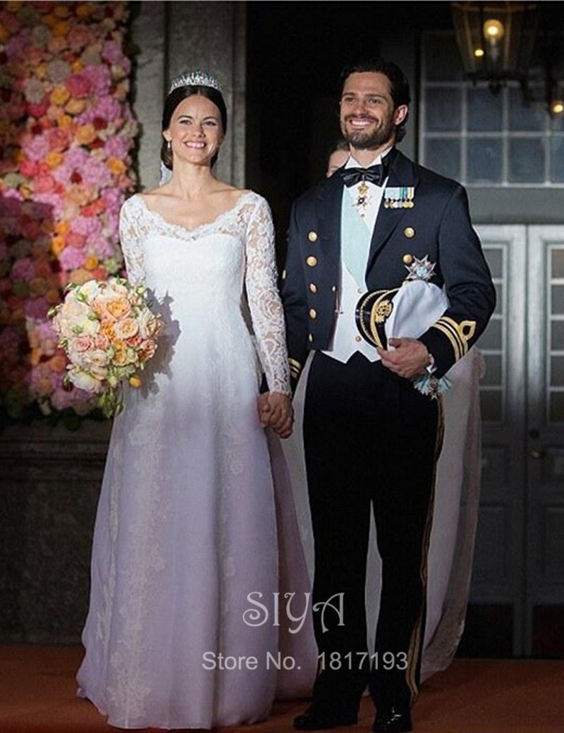 Новый 2016 великолепный благородный V шеи кружева с длинным рукавом Vestido де NoivaLace царский поезд свадебные платья мантия де свадебная