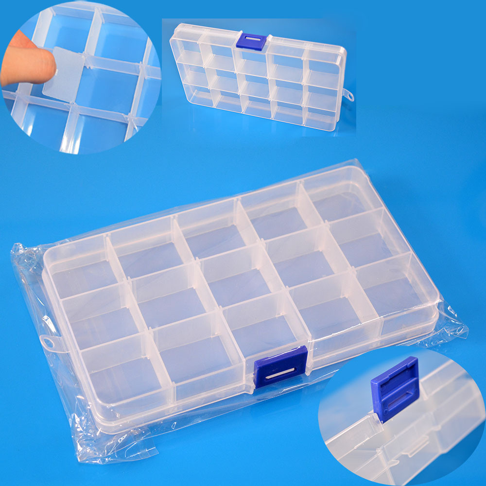 Adjustable Plastic 15 Compartment Storage Box Jewelry Earring Bin Case Container(China (Mainland))