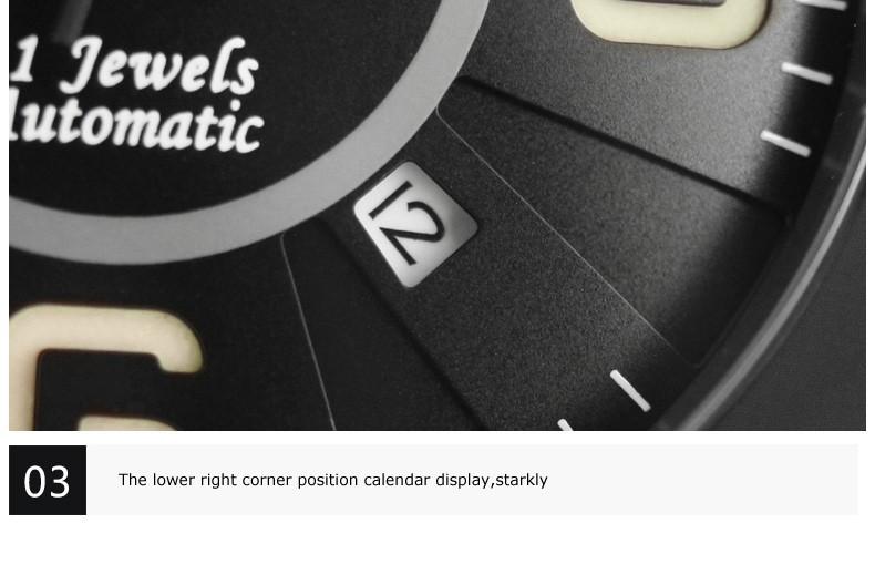 Parnis Командир Seriers Светящиеся Мужские Сапфировое Стекло Кожаный Ремешок Военная Спорт Автоматические Механические Часы Наручные Часы
