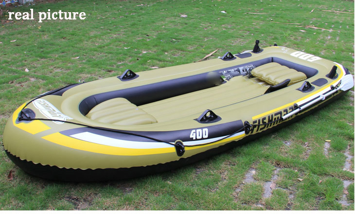 Jilong 4 preson fishing inflatable boat inflatable kayak PVC boat 340*142*48cm,include two seat+a pair of aluminum oar+hand pump(China (Mainland))