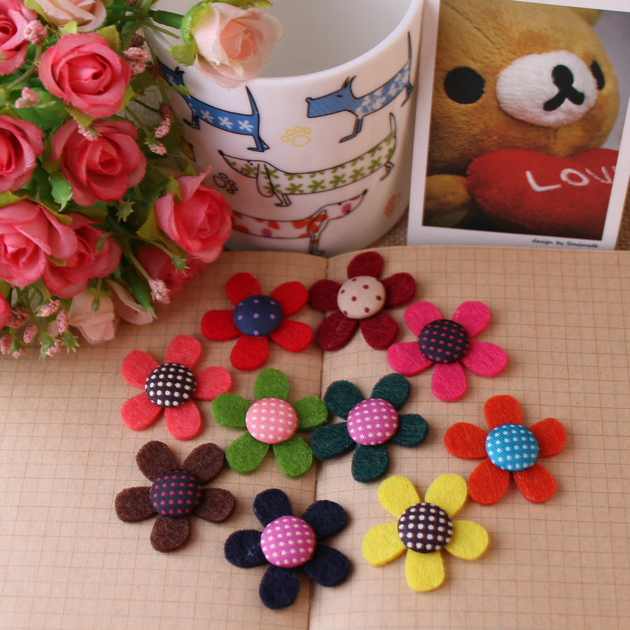 Mix Colors Flat Back 3cm Dots Wool Woven Flowers For Diy Hairband Bow Decoration Free Shipping Mix 50pcs Handmade Spring Flower(China (Mainland))