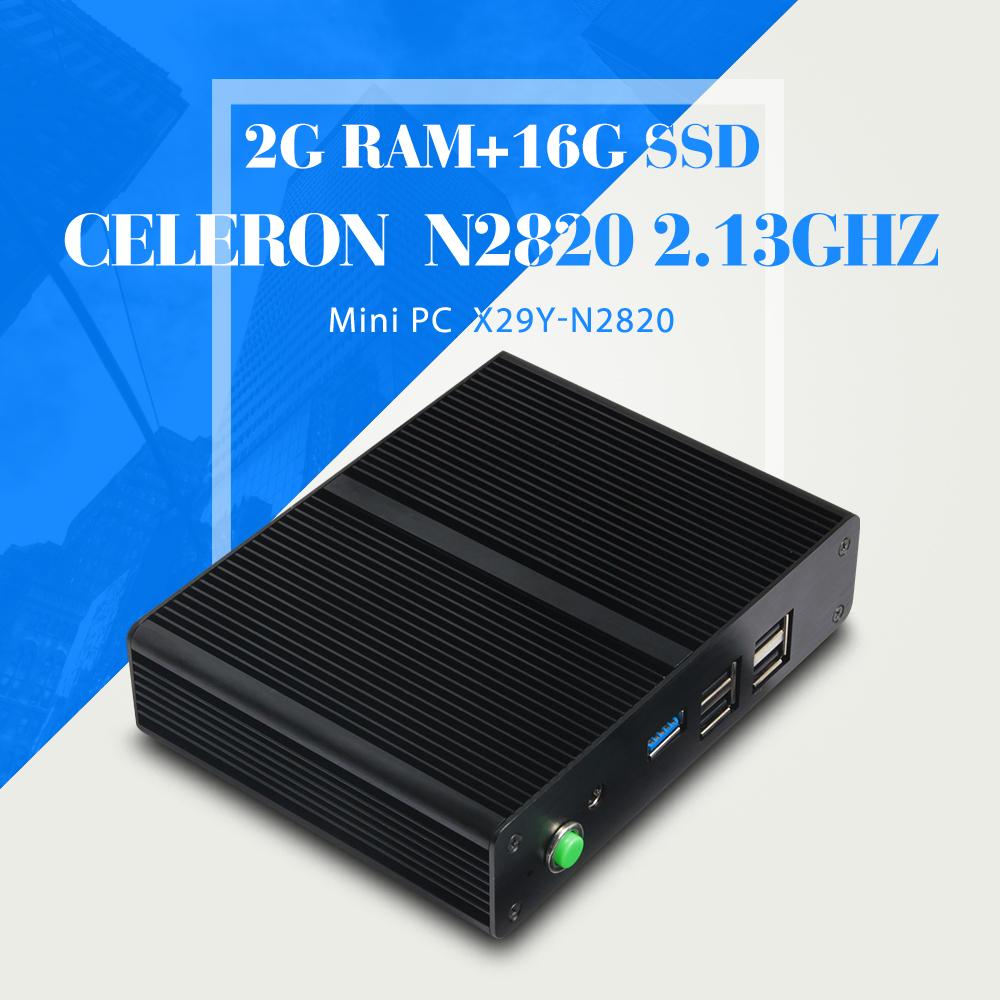 Hot selling Celeron N2820 2gb ram 16gb ssd mini pc thin client linux server smallest mini computer mini pc thin client(China (Mainland))
