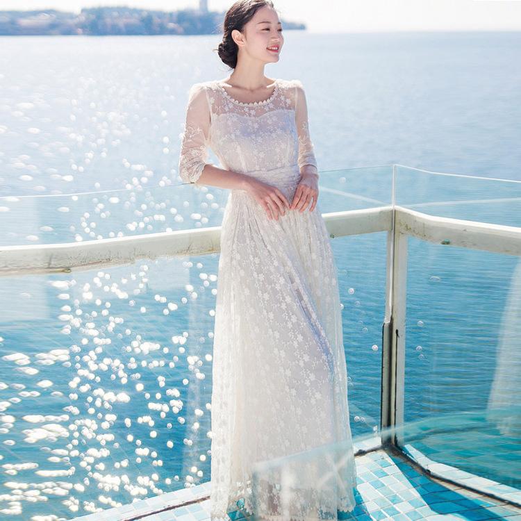 2015 New Retro white crochet lace embroidery art dress large swing Beach Dress(China (Mainland))