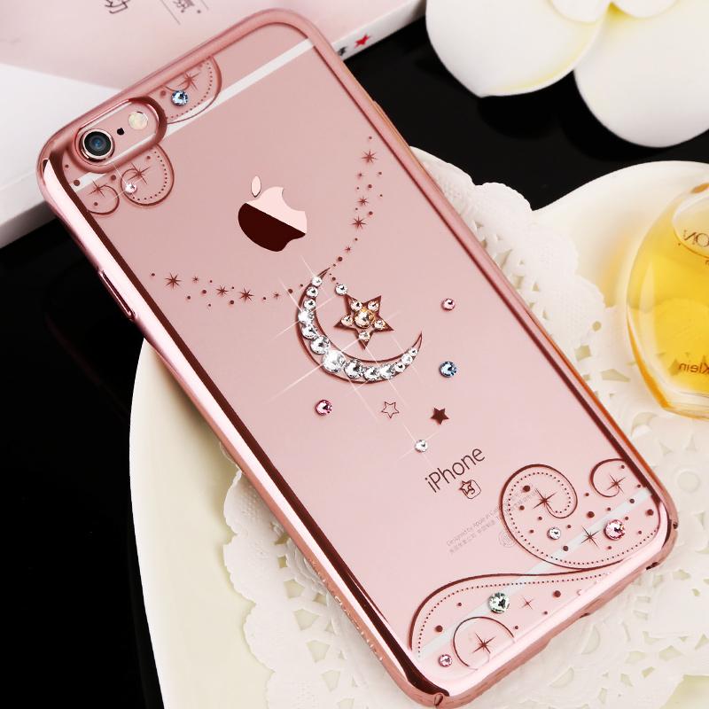 Luxury Bling Rhinestone Swarovski Diamond Case Capa For iPhone 6 6S 6 Plus necklace Crystal Electroplating TPU back Cover Funda(China (Mainland))