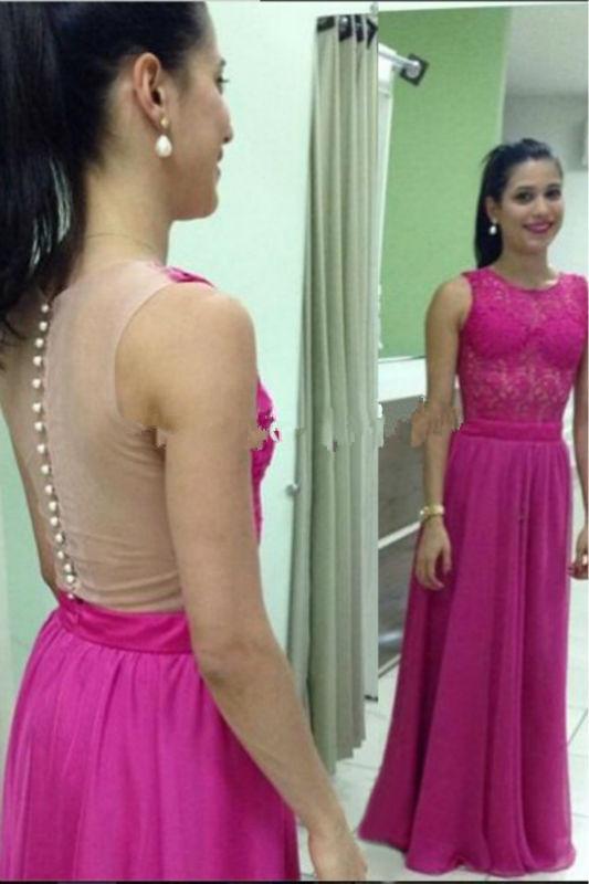 Zz60 элегантный аппликации-line рукавов пром платья 2016 кнопка длиной до пола шифон ну вечеринку девушка платье пром платья