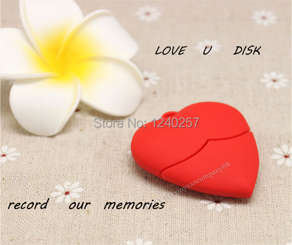 usb flash drive 64g pen drive 32g pendrive 16g 8g 4g Hot Sale cartoon Red Love heart Model pendrive Usb2.0 u disk free shipping(China (Mainland))
