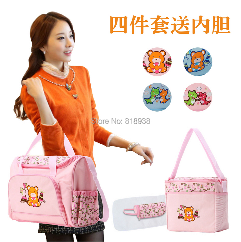 2014 Brand New Animal Print Canvas Nappy Bag large capacity multifunctional Mummy bags mother bag dipper zipper