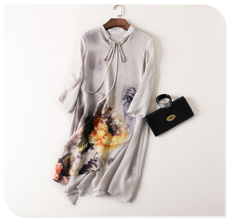 Chinese Style Print Womens Dresses 2016 Spring Summer Vintage Dress Fashion Robe Hiver Femme 2016 Tunique Femme Hiver 100% Silk