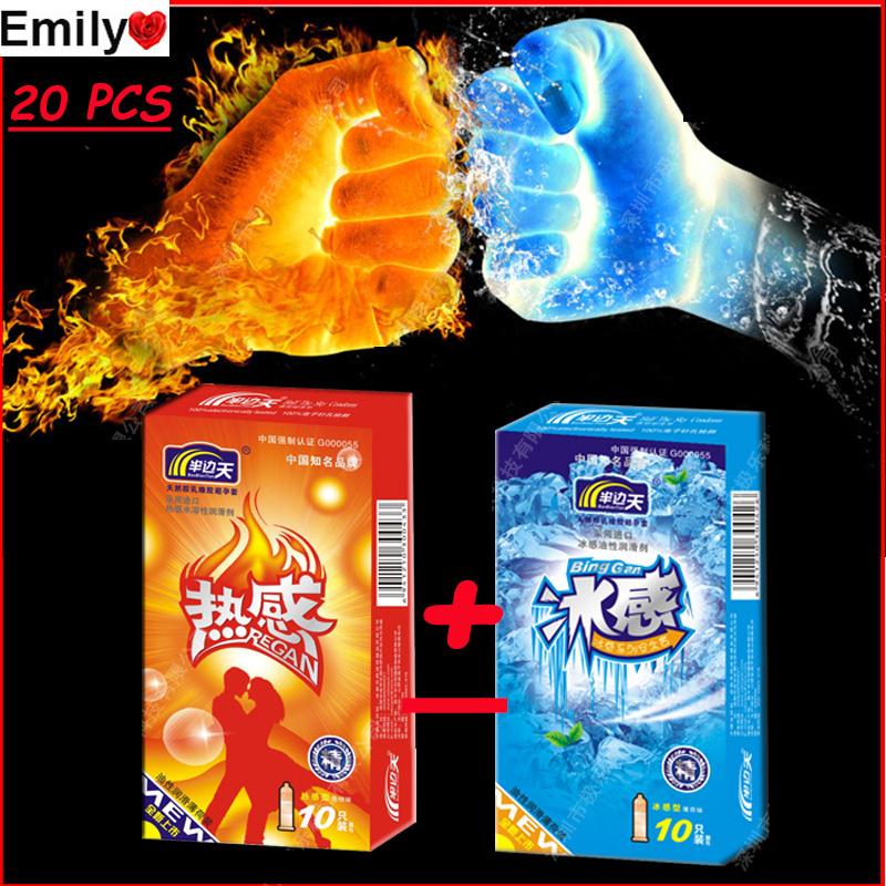 2 types(20 pieces) Ice And Hot Original Brand Condoms Best than Copy Durex Condoms Thick Condoms Super Strong and Safe(China (Mainland))