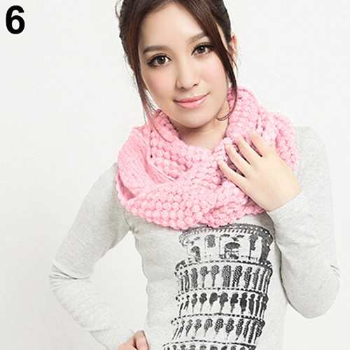 Women Girl Winter Warm Infinity Wrap 2 Circle Shawl Cable Knit Cowl Neck Long Scarf