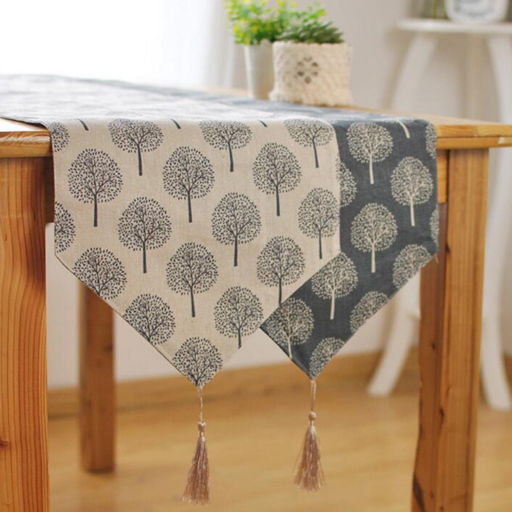 AIHOME 2016 New Modern Style Linen Cotton Table Runner Irregular Decoration Plant Printed Cloth Table Runners With Tassel LW471(China (Mainland))