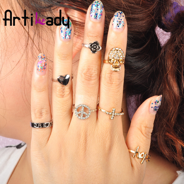 Artilady midi ring 7pcs stack rings  gold plating skull heart deisgn ring with crystal jewelry