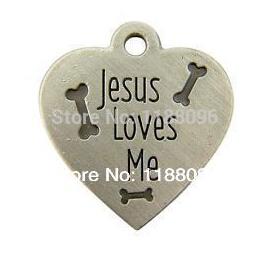 Hot sales jesus loves me heart shape medal w bones pendant dog tag collar pet charm hl80812(China (Mainland))