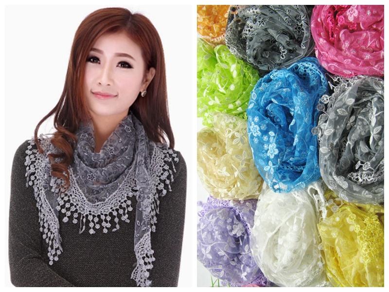 2015 New Fashion Autumn Winter Female Lace Tassel Fringe Floral Triangle Scarf Wrap Shawl For Women/Ladies(China (Mainland))